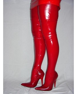 Boots red rubber latex 100% solution 36-46 13cm heel